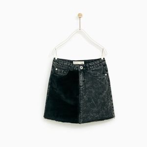 Zara girls black denim skirt with faux fur